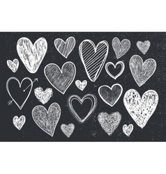 set of hand drawn doodle hearts black and vector image