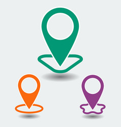 set of map point with shape and shadow icon isola vector image