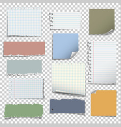 set of various notes paper on transparent vector image