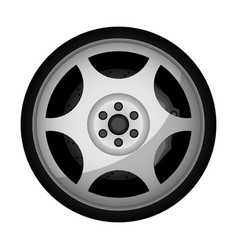 side view sports racing car wheel icon vector image