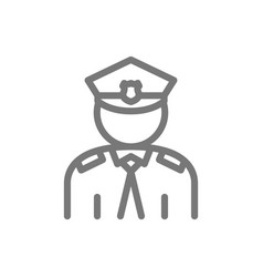 simple police officer cop line icon symbol and vector image