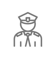 Simple police officer cop line icon symbol vector