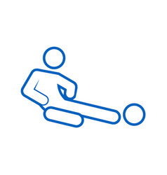 Sliding tackle football soccer sport outline vector
