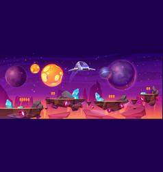 Space game platform cartoon 2d gui alien planet vector