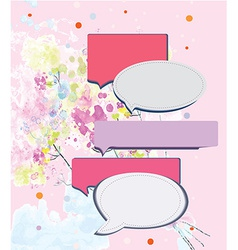 Speak frame on romantic floral background vector image