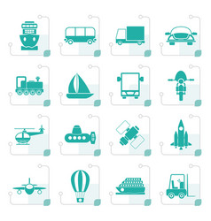 stylized transportation travel and shipment icons vector image