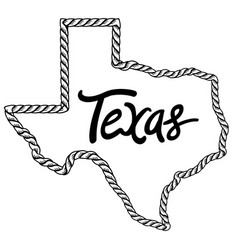 texas map lasso rope frame vector image