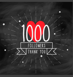 Thank you 1000 followers doodle template vector