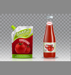 Tomato ketchup packing realistic mockup set vector