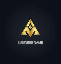 triangle pyramid a initial logo vector image