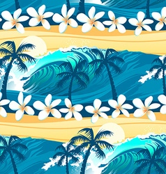 Tropical surfing with palm trees seamless pattern vector image