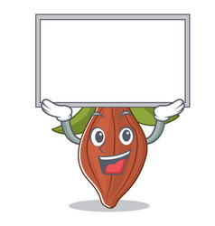 Up board cacao bean character cartoon vector
