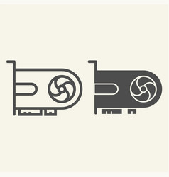Video card line and glyph icon gpu vector