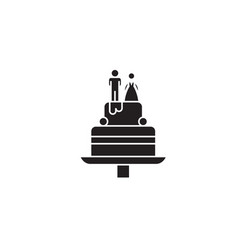 wedding cake black concept icon wedding vector image