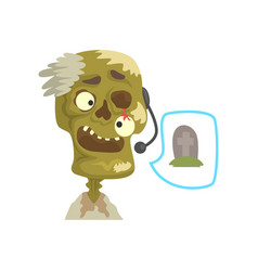 Zombie support phone operator in headset cartoon vector