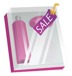 box with cosmetics and sale label isolated on vector image vector image
