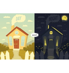 Day and night vector image vector image