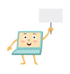 flat funny laptop character with placard vector image vector image