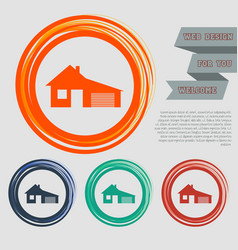 house with garage icon on the red blue green vector image