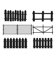Rural wooden fences pickets silhouettes vector image vector image