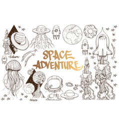 set of black and white on space theme space ship vector image