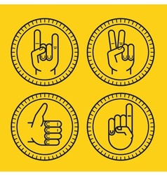 set of outline icons on circle badges vector image vector image