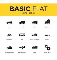Basic set of car icons vector image