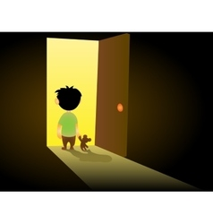 Boy In Dark Room vector image vector image