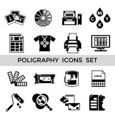 CMYK Black Icon Set vector image