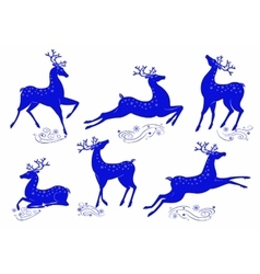 Collection of blue deer vector image vector image