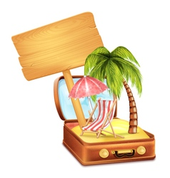 Holiday Suitcase with Wooden Board vector image vector image
