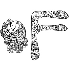 letter F decorated in the style of mehndi vector image vector image