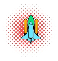 Space shuttle icon comics style vector image