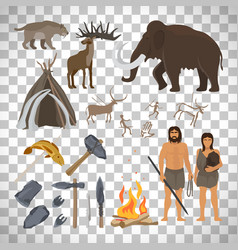 stone age icons on transparent background vector image vector image