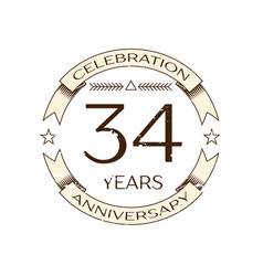 thirty four years anniversary celebration logo vector image