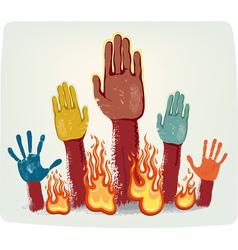Voting fire hands vector image