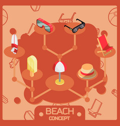 beach color outline isometric concept icons vector image vector image