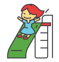 girl on children slide playing kid kindergarten vector image vector image