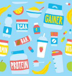 hand drawn style sport food nutrition seamless vector image