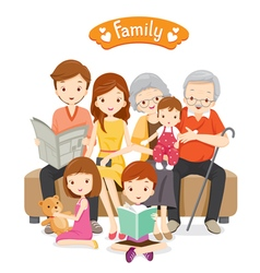 Happy Family Sitting on Sofa and Floor vector image