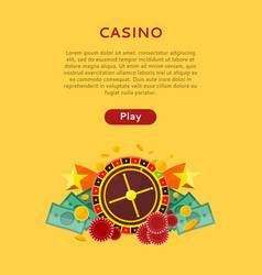 roulette wheel coin dice money chip star isolated vector image vector image