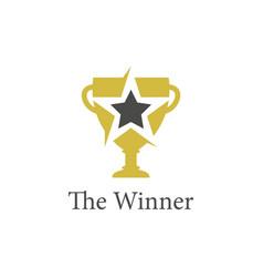 trophy gold logo vector image