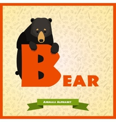 B letter with black bear behind vector image