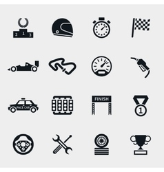 Car race icons set vector image vector image