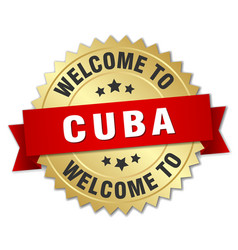 cuba 3d gold badge with red ribbon vector image