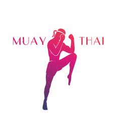 muay thai athlete silhouette vector image