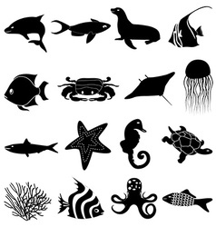 Sea life icons set vector image vector image