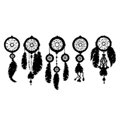 5 Dream catchers silhouette isolated on white vector