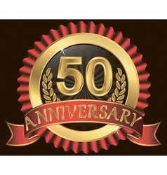 50 years anniversary golden label with ribbon vector