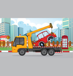 Accident scene with tow truck and broken car vector